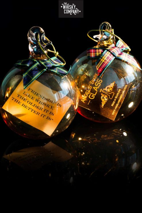 Angels Share Glass Christmas Whisky Bauble - with a quote inside