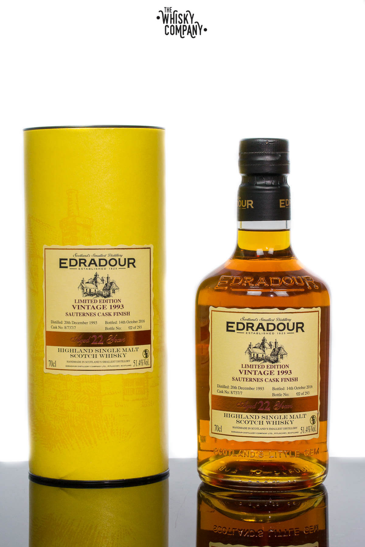 Edradour 1993 Vintage Aged 22 Years Sauternes Cask Finish Highland Single Malt Scotch Whisky (700ml)