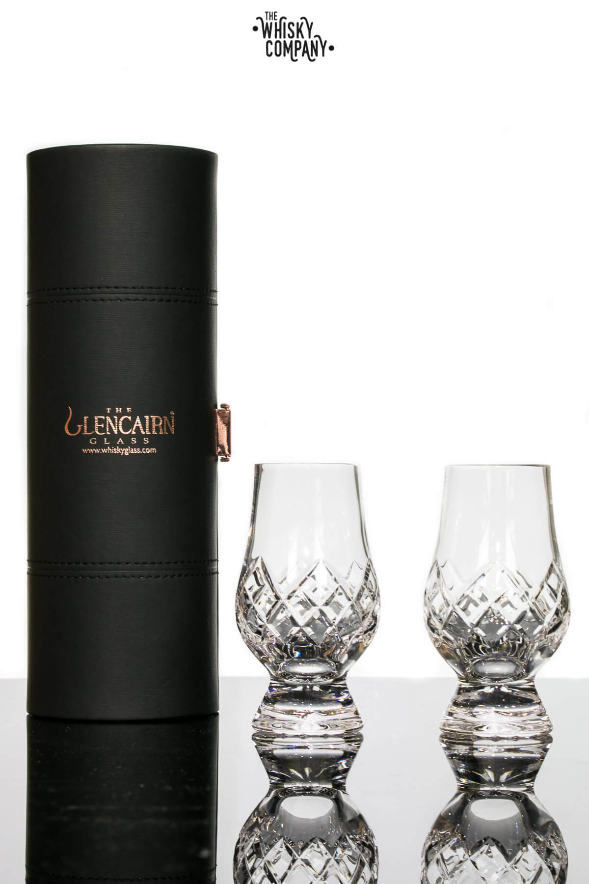 "Glencairn Cut Crystal ""Hatch"" Two Glasses In Travel Case"