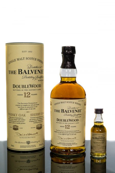 The Balvenie Aged 12 Years Doublewood Speyside Single Malt Scotch Whisky PLUS Balvenie 14YO Miniature