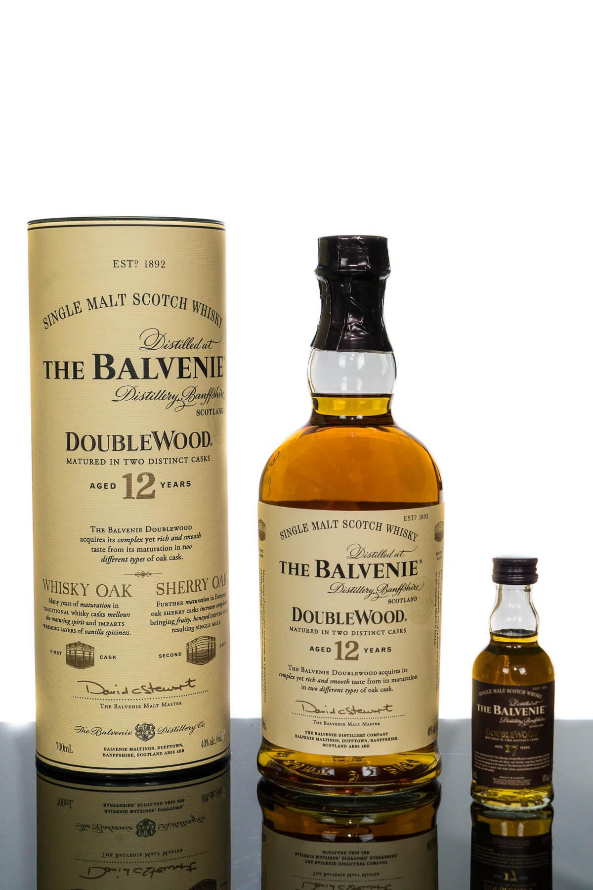 The Balvenie Aged 12 Years Doublewood Speyside Single Malt Scotch Whisky PLUS Balvenie 17YO Miniature