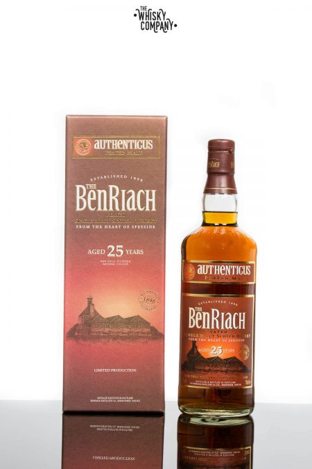 BenRiach Aged 25 Years Authenticus Peated Speyside Single Malt Scotch Whisky (700ml)