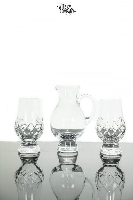 "Glencairn Cut Crystal ""Hatch"" Two Whisky Tasting Glasses With Iona Jug In Presentation Box"