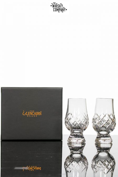 "Glencairn Cut Crystal ""Hatch"" Two Whisky Tasting Glasses In Presentation Box"