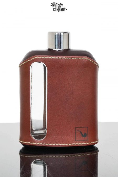 Ragproper Dark Brown Leather Glass Whisky Flask (240ml)