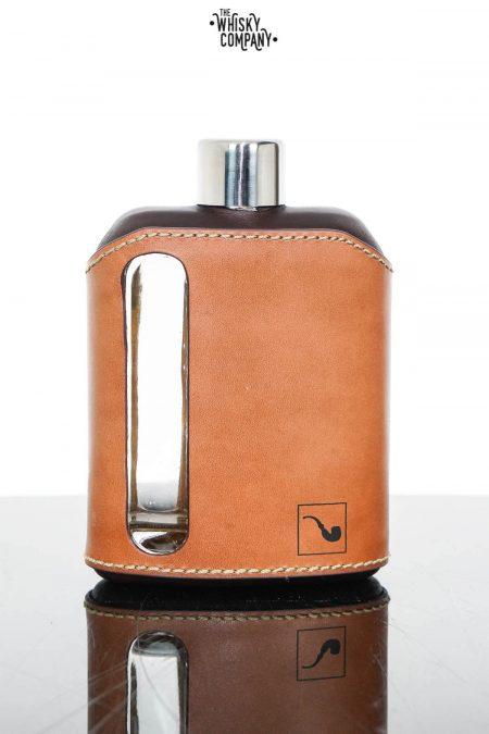 Ragproper Dark Tan Leather Glass Whisky Flask (240ml)